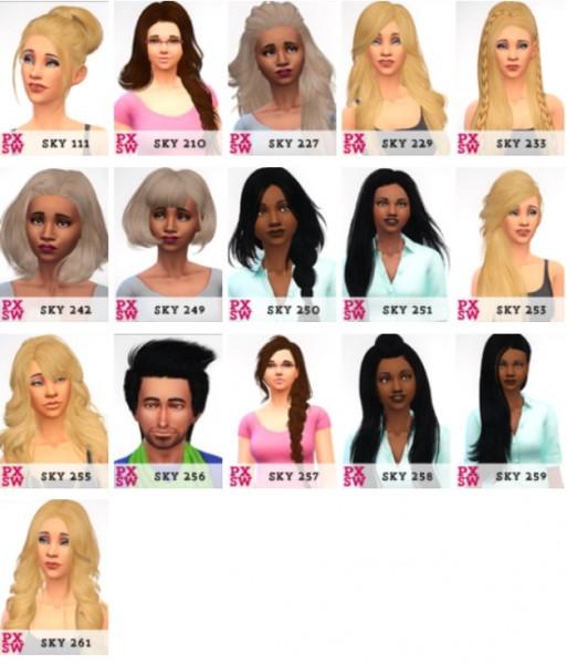 Swirl Goodies: Skysims hairs retextured for Sims 4
