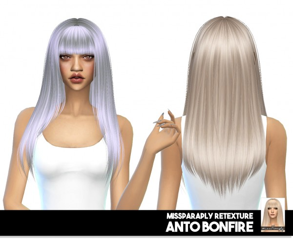 Miss Paraply: Anto Bonfire: solid textures hair retextured for Sims 4