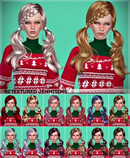 Jenni Sims: Butterfly`s 052 and Newsea`s Devon hairs retextured for Sims 4
