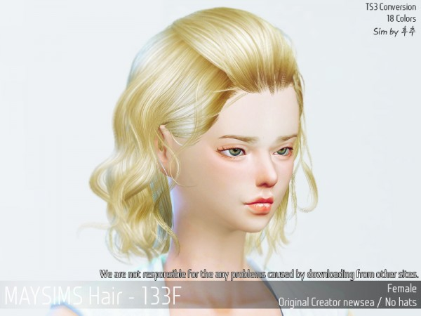 MAY Sims: May 133F hair retextured for Sims 4