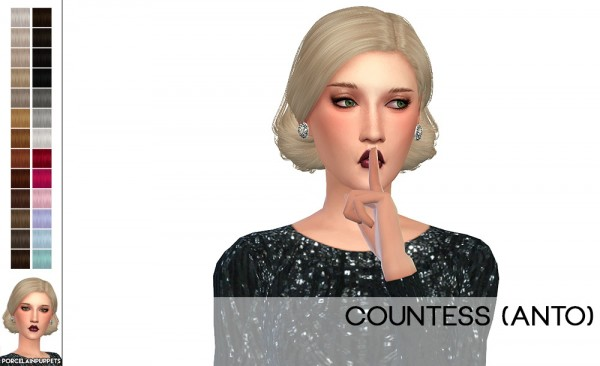 Porcelain Warehouse: Anto`s Countess hair retextured for Sims 4
