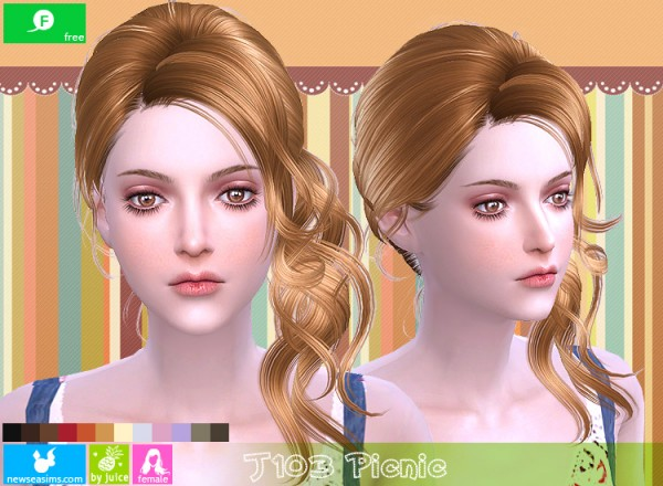 NewSea: J103 Picnic hair for Sims 4
