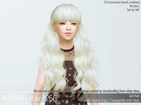 MAY Sims: May Hair 126 G for Sims 4