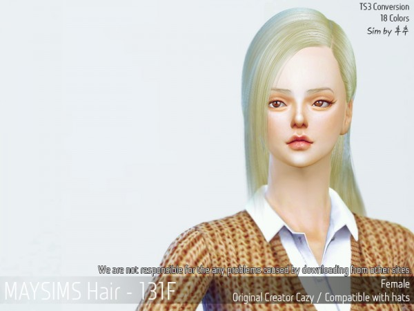MAY Sims: May 131F hair retextured for Sims 4