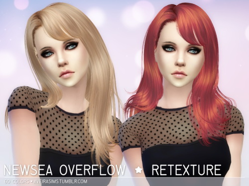 Aveira Sims 4: Newsea`s Overflow hair retextured for Sims 4