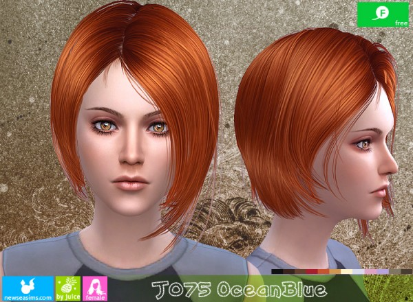 NewSea: J075 Ocean Blue hair for Sims 4