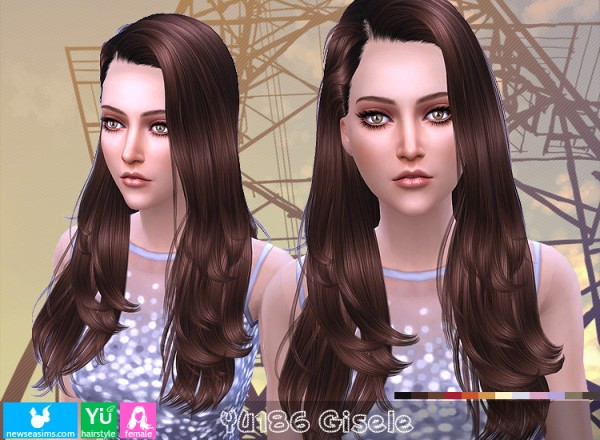 NewSea: YU 186 Gisele hair for Sims 4
