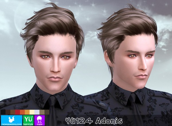 NewSea: YU124 Adonis hair for Sims 4