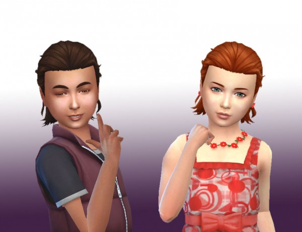 Mystufforigin: Long Tied hair for kids for Sims 4