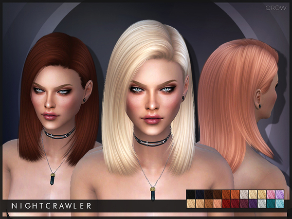 The Sims Resource: Crow hair by Nightcrawler for Sims 4