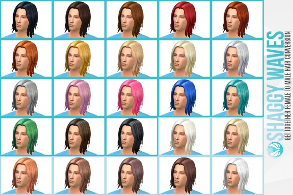 Simsational designs: Shaggy Waves   GT Female to Male Hair Conversion for Sims 4