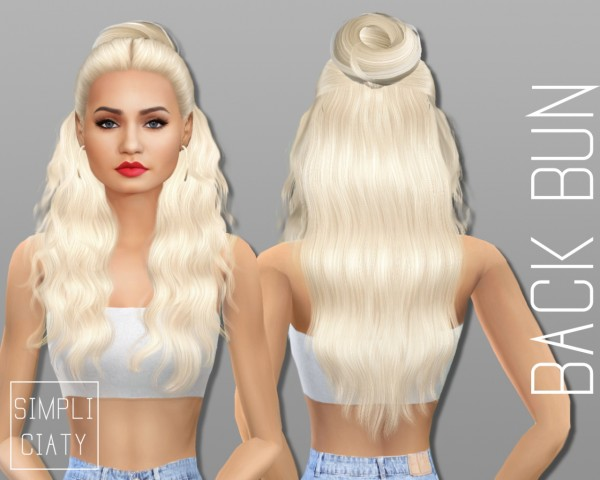 Simpliciaty: 6 variations of buns hair for Sims 4