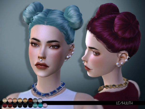 The Sims Resource: Blossom hair by LeahLilith for Sims 4