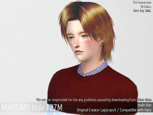 MAY Sims: May Hair 127M retextured for Sims 4