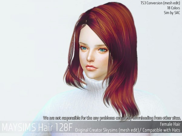 MAY Sims: May hair 128F retextured for Sims 4