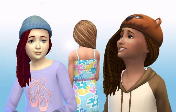 Mystufforigin: Box Braids Side for Girls for Sims 4