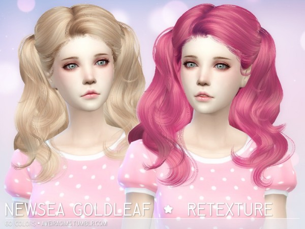 Aveira Sims 4: Newsea`s Goldleaf hairstyle retextured for Sims 4