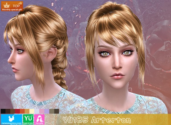 NewSea: YU185 Arterton hair for Sims 4