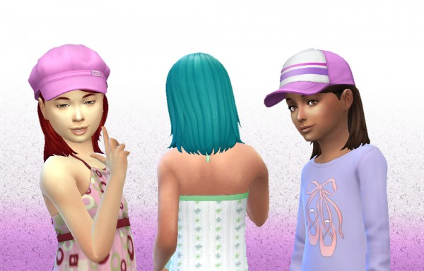 Mystufforigin: Medium Tucked hair for girls for Sims 4