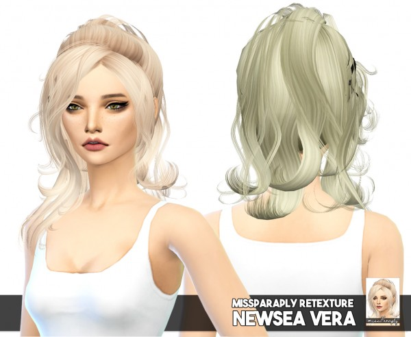 Miss Paraply: Newsea`s Vera solid hair retextured for Sims 4