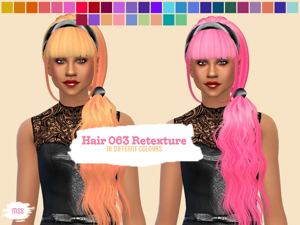 The Sims Resource: Skysims Hair 063 Retextured by midnightskysims for Sims 4