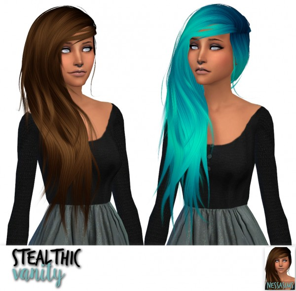 Nessa sims: Stealthic`s Persona, Reprise and Vanity hair retextured for Sims 4