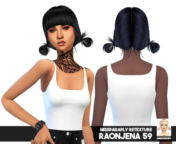 Miss Paraply: Raonjena 59 hair retexturterd for Sims 4