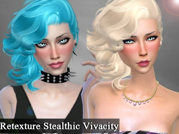 The Sims Resource: Stealthic Vivacity hair retextured by Genius666 for Sims 4