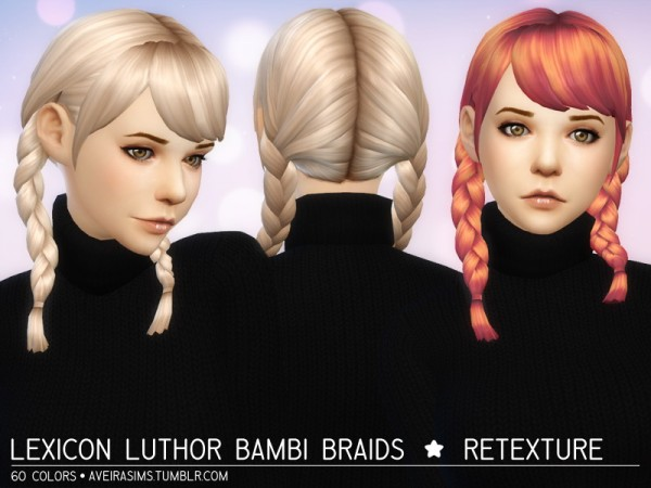 Aveira Sims 4: Lexicon Luthor Bambi Braids hair retextured for Sims 4