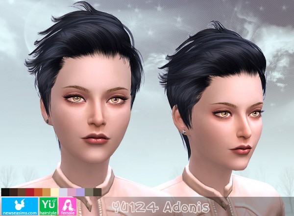NewSea: YU124 Adonis hair for her for Sims 4