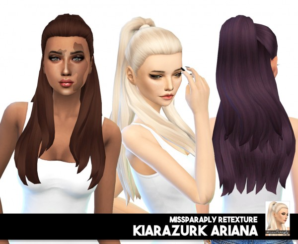 Miss Paraply: KiaraZurk Ariana hair retextured for Sims 4