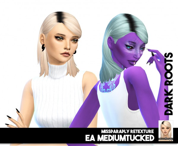 Miss Paraply: Twist: solids and dark roots hair retextured for Sims 4