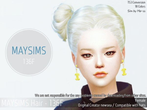 MAY Sims: May 136F hair retextured for Sims 4