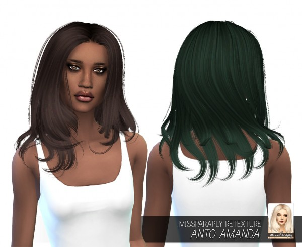 Miss Paraply: Anto`s Amanda hair retextured for Sims 4
