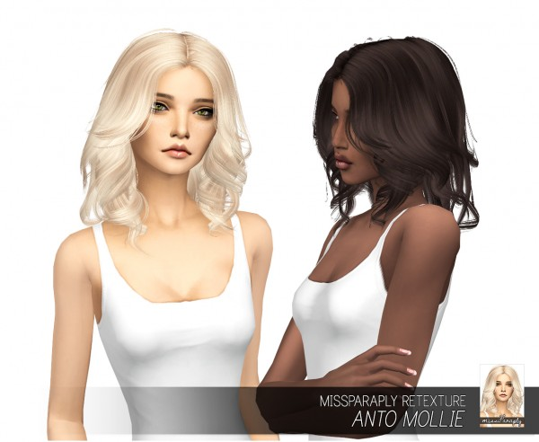 Miss Paraply: Anto`s Mollie hair retextured for Sims 4