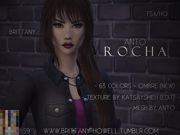 The Sims Resource: Anto`s Rocha Hair retextured by Brittany Howell for Sims 4