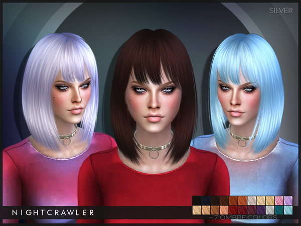 The Sims Resource: Silver hair by Nightcrawler for Sims 4