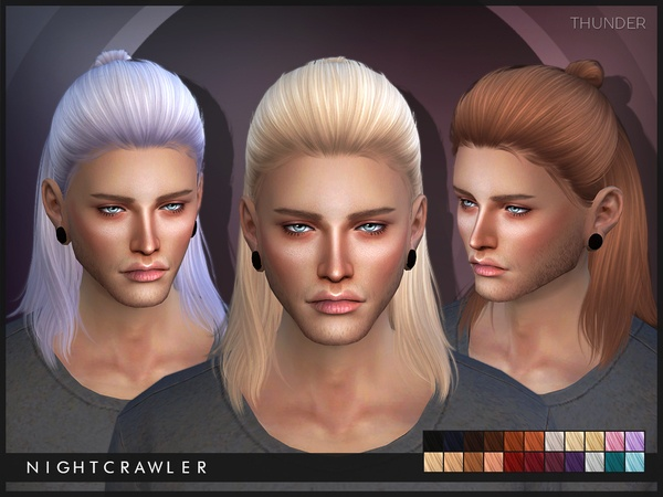 The Sims Resource's Thunder hair by Nightcrawler – Long hairstyles
