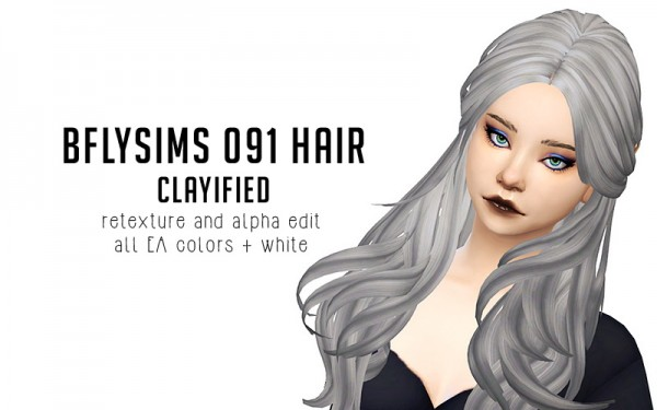 Liahxsimblr: Butterfly`s 091 hair retextured for Sims 4
