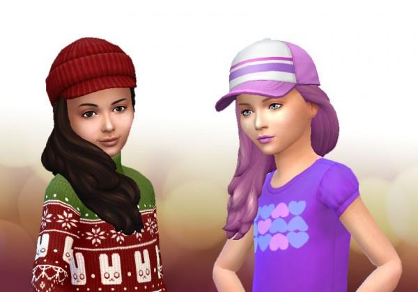 Mystufforigin: Long Braid Curled hair for Girls for Sims 4