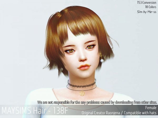 MAY Sims: May 138U hair retextured for Sims 4
