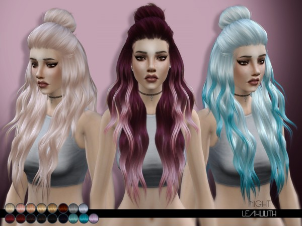 The Sims Resource: Night hair by Leah Lillith for Sims 4
