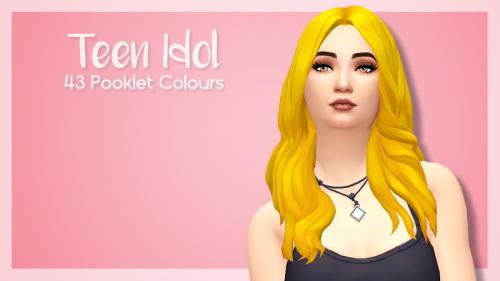 SimBlob: Teen idol hair   43 colors for Sims 4