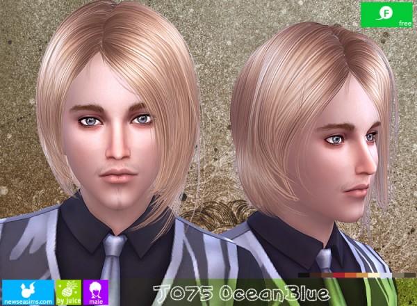 NewSea: J075 Ocean Blue hair for Sims 4