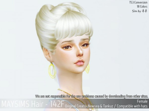 MAY Sims: May 142F hair retextured for Sims 4