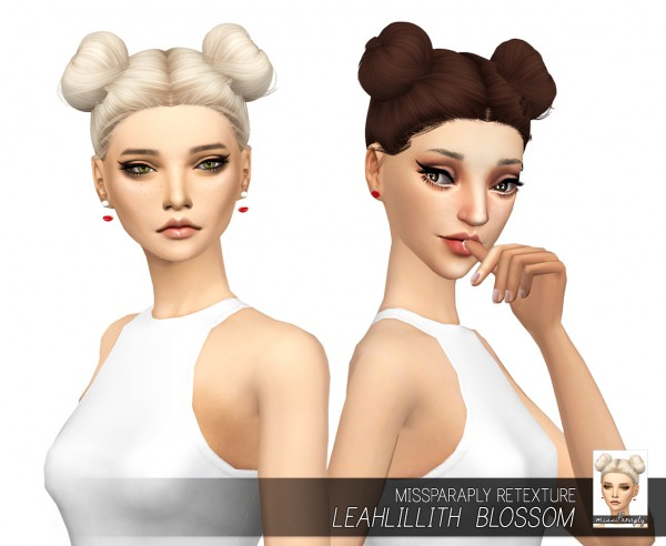 Miss Paraply: LeahLillith`s Blossom hair retextured for Sims 4