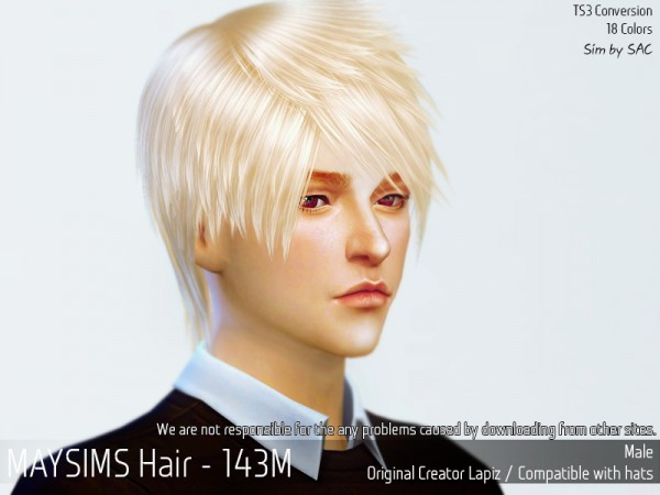 MAY Sims: May 143M hair retextured for Sims 4