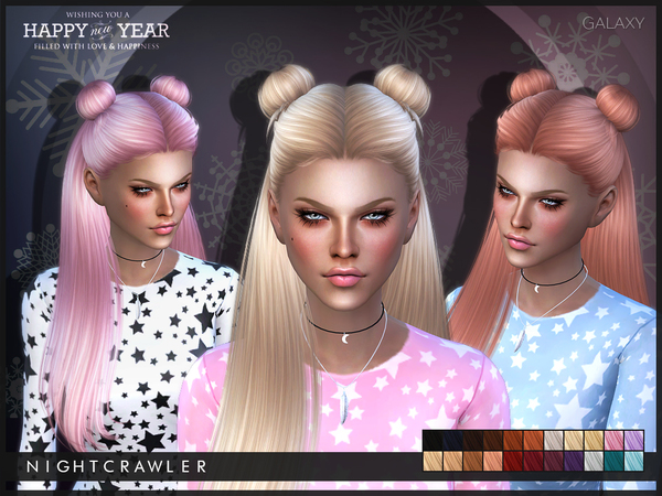 The Sims Resource: Galaxy hair by Nightcrawler for Sims 4