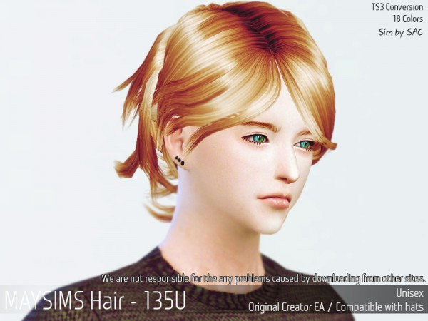 MAY Sims: May 135 hair retextured for Sims 4