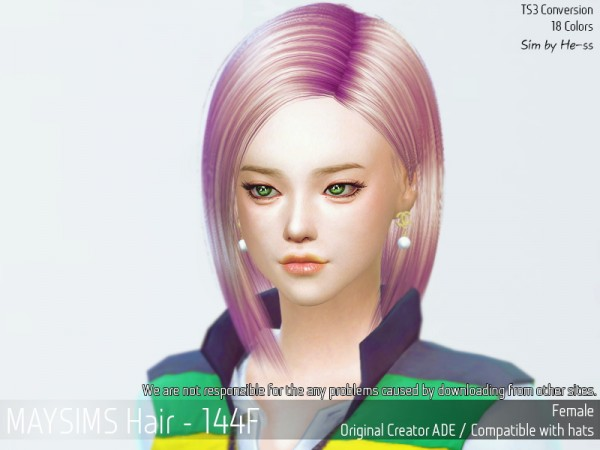 MAY Sims: May 144F hair retextured for Sims 4